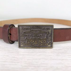 Vintage Levi's Brown Leather Skinny Belt Medium M